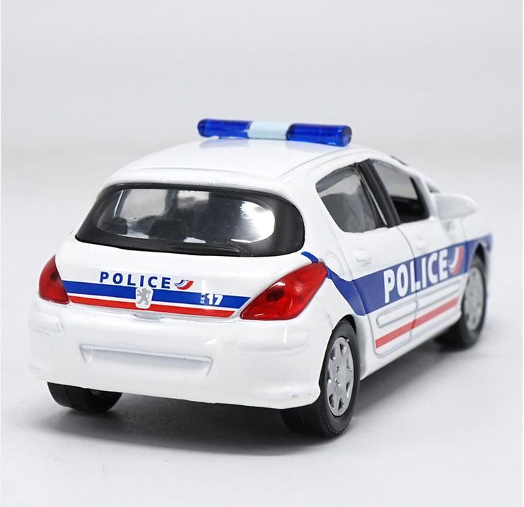 1:43 scale alloy car toy, high imitation Peugeot 308 Swat cop car ...