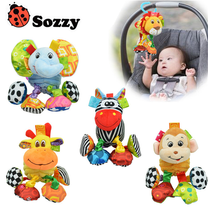 SOZZY 5 Designs Pull Up And Shake Crib Bed Hanging Ring Multifunction Baby Rattle Bell Infant Baby Crib Stroller Hanging Toy