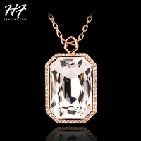 N502 Noble Fashion Style Big Clear Crytal 18K Rose Gold Plated Pendant Necklace Jewelry Austrian Crystal