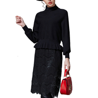 Autumn Winter Women Black Knitted Dress Lace Fringe Ruffle Waist Faux Two Piece Christmas Weater Dresses