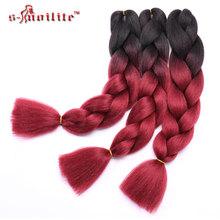 "Snoilite 24"" Kanekalon braiding hair ombre two tone colored jumbo braids hair synthetic hair for dolls crochet hair 100g/pack(China)"