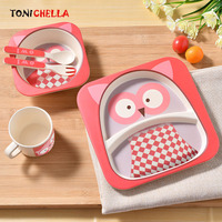 Baby Bamboo Fiber Dinnerware Children Safety Tableware Set Animal Cartoon Plate Bowl Fork Spoon Cup Food Feeding Dishes BB3092