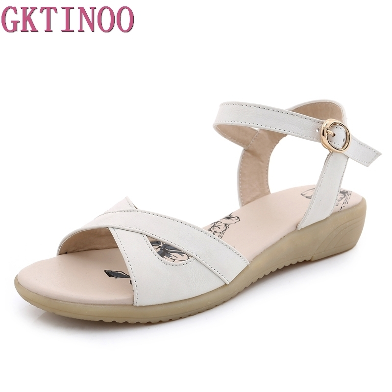 GKTINOO Plus size 35-42 new high quality genuine leather sandals women shoes ladies solid color flat summer beach shoes цена 2017