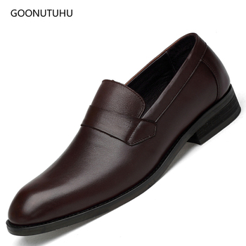2019 Fashion men's dress shoes genuine leather cow slip-on forma shoe man classic black&brown office work wedding shoes for men