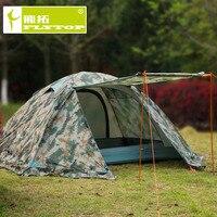 플라이 탑 위장 방수 2 인 4 시즌 알루미늄 합금 막대 하이킹 등산 야외 캠핑 텐트 스노우 스커트와 함께