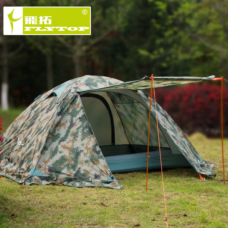 Flytop camouflage waterproof 2 person 4 season aluminum alloy rod hiking mountaineering outdoor camping tent with snow skirt