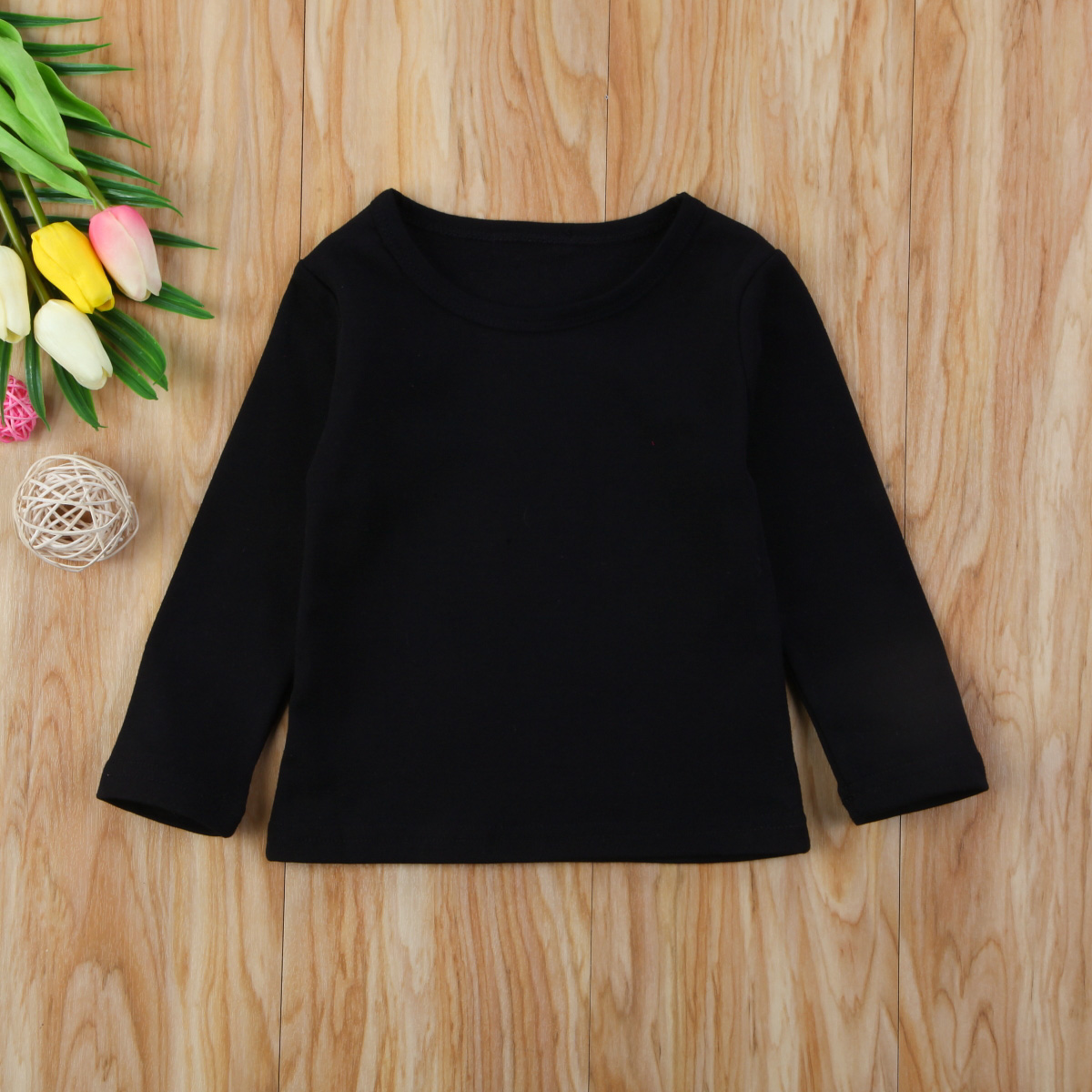 Autumn Cotton Newborn Infant Kids Baby Boys Girls Clothes Solid Cotton Soft Clothing Long Sleeves T-shirt Tops 9