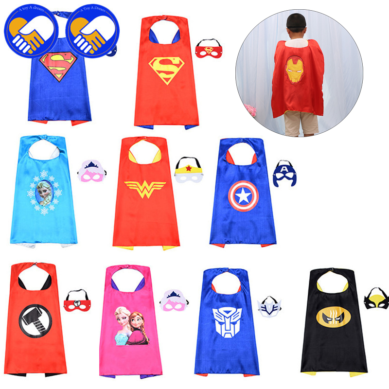 A TOY A DREAM Super Heroes Action Figures Kids Costume Super Hero Cape & Mask Batman Superman Children Boy Girl Cosplay Suit Toy lps toy bag 25pcs pet shop animals cats puppy kids boy and girl action figures pvc lps toy birthday christmas gift 4 5cm