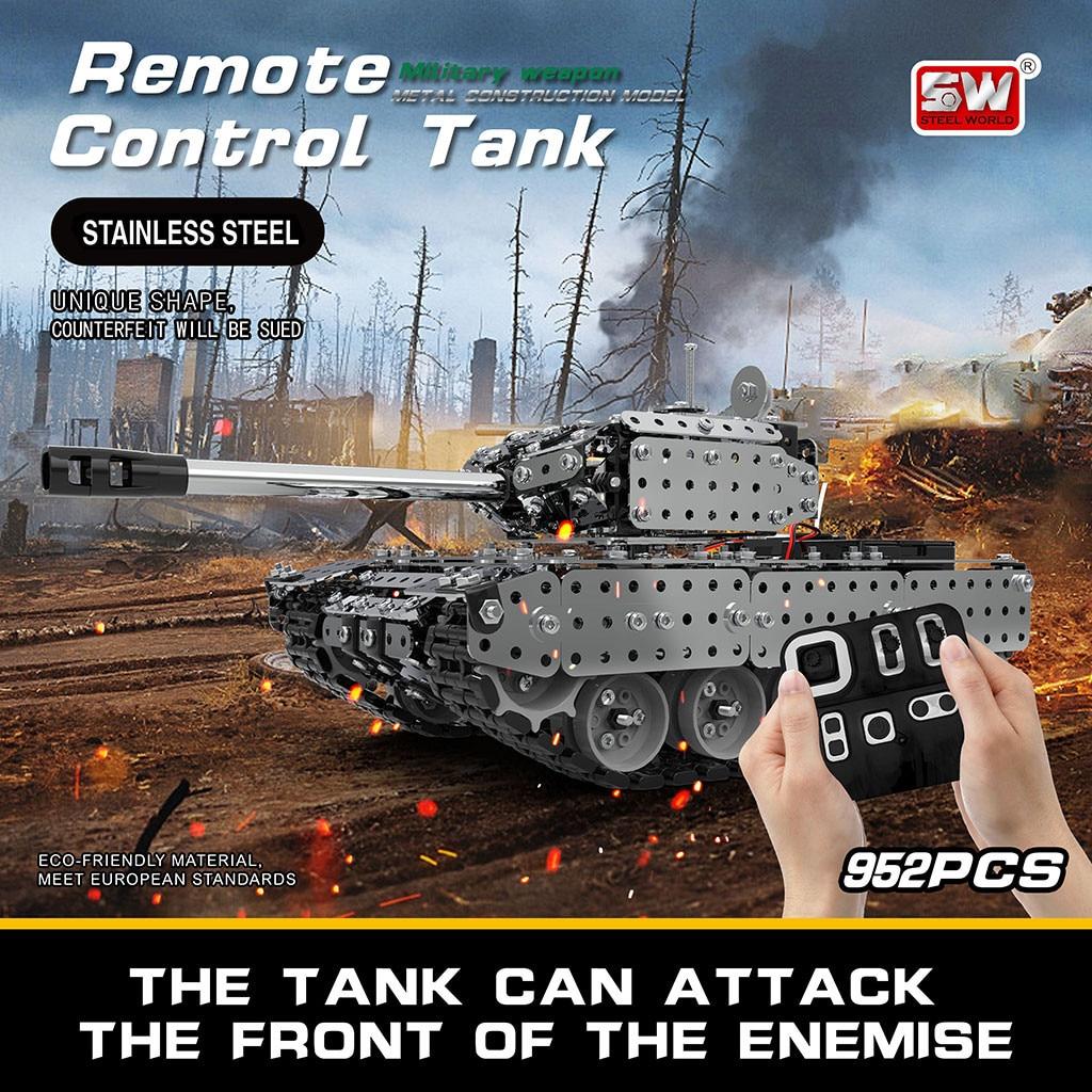 Jouets de voiture de contrôle de véhicule militaire de réservoir de télécommande d'assemblage d'acier inoxydable de Mofun