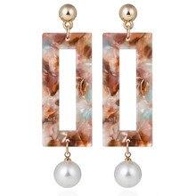 Фотография 1pcs Korean Vintage Resin Acrylic Marble Texture Waterdrop Dangle Earrings Leopard Clear Big Circle Ear Jewelry Boucle 2017