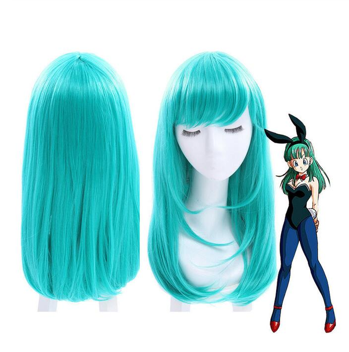 Jewelry Wig Dragon Ball Bulma Medium Long Straight Bangs Green Cosplay Wig Party Hair Wigs Free Shipping(China)