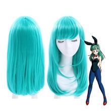 Ювелирные изделия Парик Dragon Ball Bulma средней длины прямые челки зеленый парик для косплея парики из натуральных волос для вечеринки