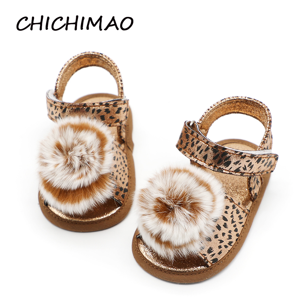 Flower First Walkers Summer Panther Baby Shoes Baby Girl Animal Print Soft Soled Princess Crib Shoes Prewalkers