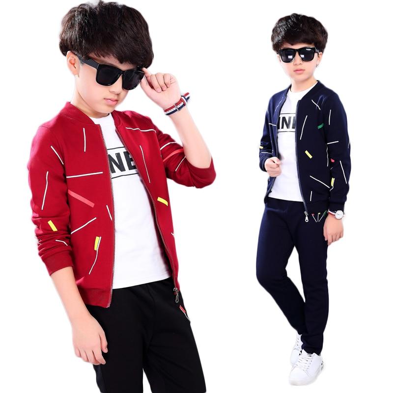 boys jacket sets 3 pcs 2020 autumn jacket + pants +t-shirt toothbrush embroidery kids jackets children autumn clothes 4-13 years