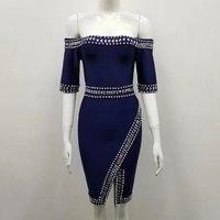 High Quality Blue Slash Neck Beading Half Sleeve Rayon Bandage Dress Evening Party Bodycon Dress