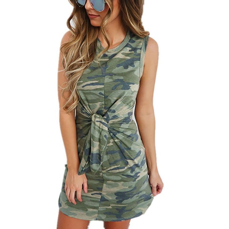 ab5fe475f DORVIVON venda verano Mini vestido de mujer estampado de camuflaje Casual corto  Vestidos de las señoras Sexy traje Femme 2019 Vestidos Cortos