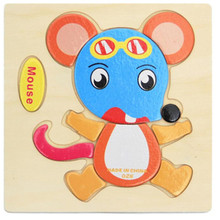 Wooden Toys for Children Early Learning Puzzle 3D Cartoon Animal