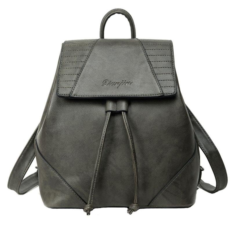 2017 Vintage Women Backpack Drawstring Brown Rucksack High Quality PU Leather Backpacks For Teenage Girls Bag