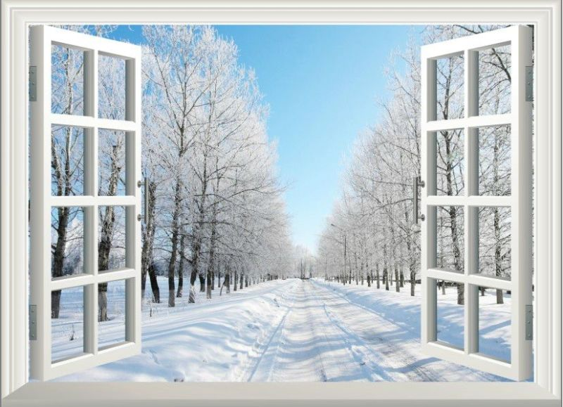 3d Winter Snow Window View Removable Wall Art Stickers