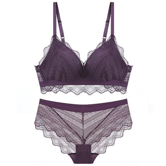 7f76e2edaa40 Sexy French underwear set ladies no steel ring lace triangle cup bra  comfortable gathering solid color thin cup