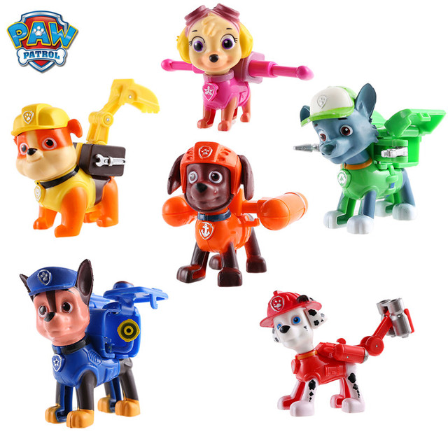 6 Pcs/set Paw Patrol Patrulla Canina Anime figure Action Figures puppy patrol Car Toy Patroling Canine Toys for Children