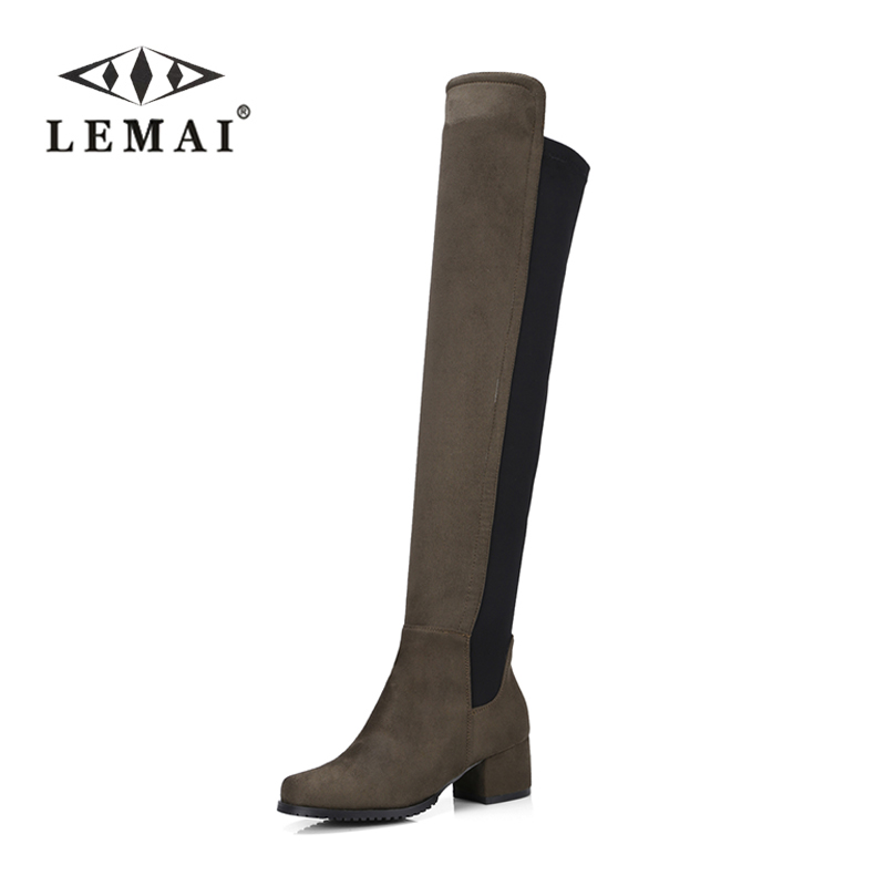 LEMAI Plus size 34-43 2017 New Women Stretch Faux Suede Over the Knee Boots Flat Thigh High Boots Sexy Fashion Shoes Woman kickway faux suede slim boots sexy over the knee high women snow boots women s fashion winter thigh high boots plus size 45 46