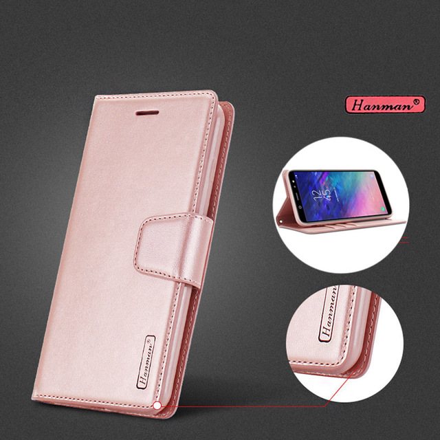 low priced 45a70 9232a US $5.99  Original Hanman Leather Wallet Flip Cover For Samsung Galaxy A6 A  6 2018 A600 A6+ A6 Plus A6Plus Mobile Phone bags Cases Coque-in Flip Cases  ...