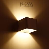 8pcs AC100 to AC265V Input Wood Texture Modern Indoor Cube Wall Light Hotel Lighting Headboard Wall Lamp 5W
