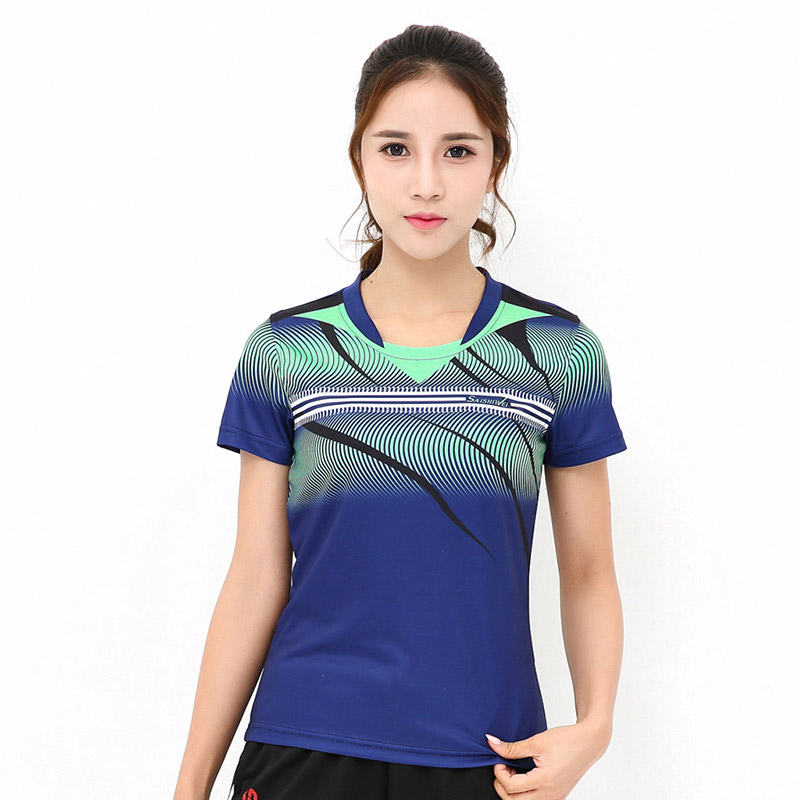 New womens breathable quick-drying sweat sweater, tennis T-shirt, table tennis short-sleeved sports badminton T-shirt, free shi