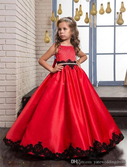 Aliexpress.com : Buy Red Flower Girls Dresses With Bow Beaded ...