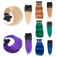 LS Hair ombre straight hair extensions T1B/27/Green/purple/blue/honey blonde remy colored hair 3 bundles with lace closure