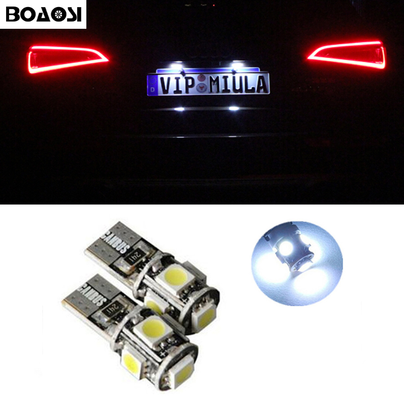 BOAOSI 4x Super bright LED T10 5050smd Car Canbus No Error Number Plate Light for KIA RIO K2 K5