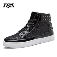 TBA Big Size 36 44 Men Casual Shoes High Top PU Leather Lace Up Unisex Breathable