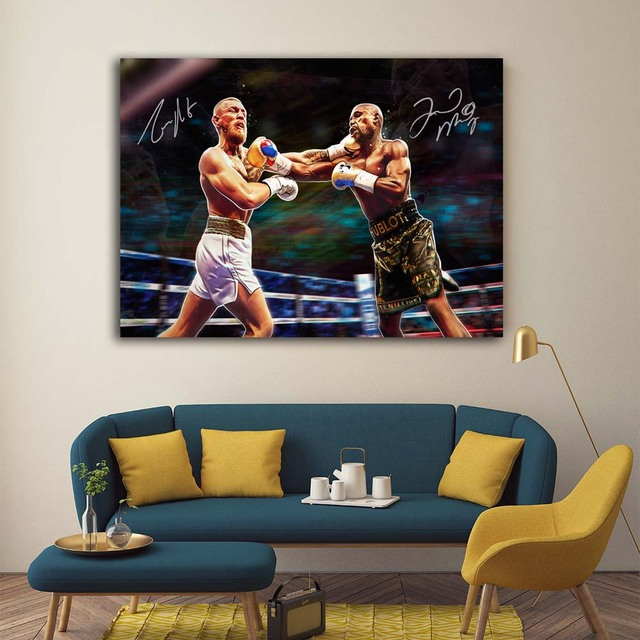 money fight ufc conor mcgregor with floyd mayweather boxing wall
