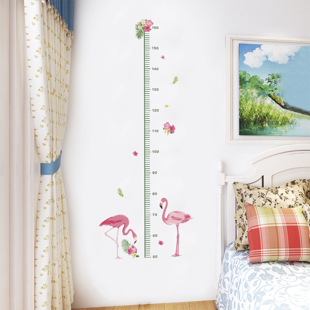 Flamingo Height Measure Wall Stickers For Kids Rooms Wall Decals Growth Chart Bedroom Wa ...