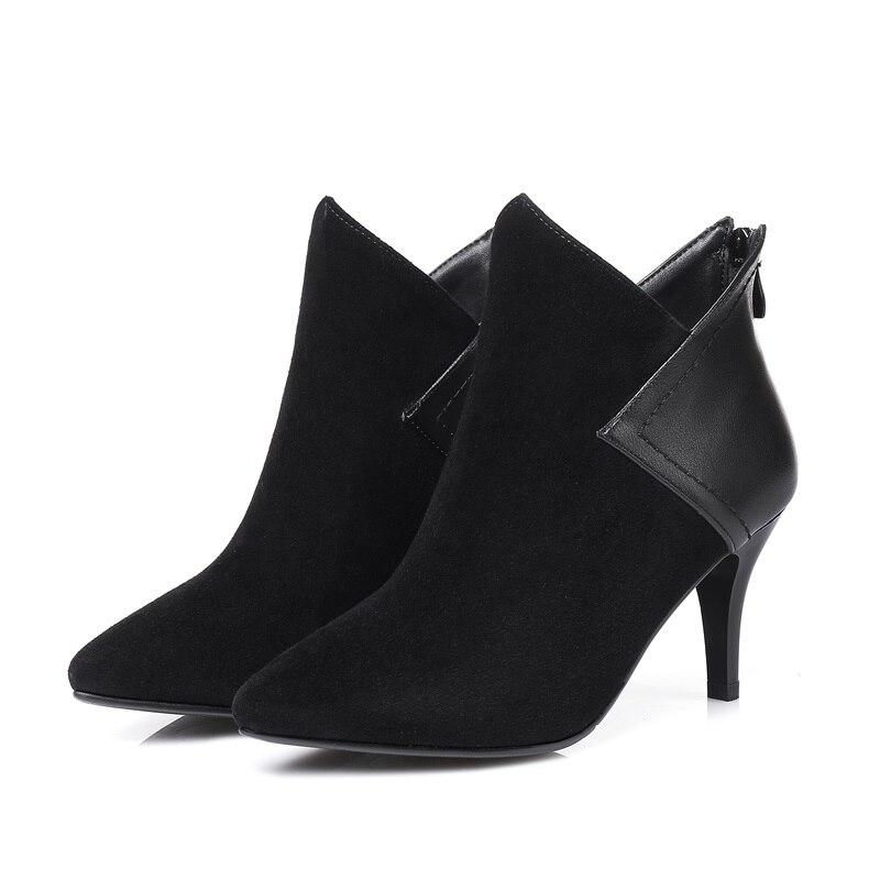 Neue 2019 Schuhe Vankaring Echtem Frauen Reitstiefel Herbst Stiefeletten Leder Zipper High Starke Stiefel Spitz Heels Black Schwarz Winter ECq5w5Ax