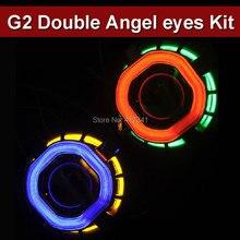 2.5 Pouces Carré CCFL Double Ange Yeux HID B-xénon Objectif Du Projecteur Kit avec 35 W HID Lampe Universel Utilisé pour H4 H7 Projecteur