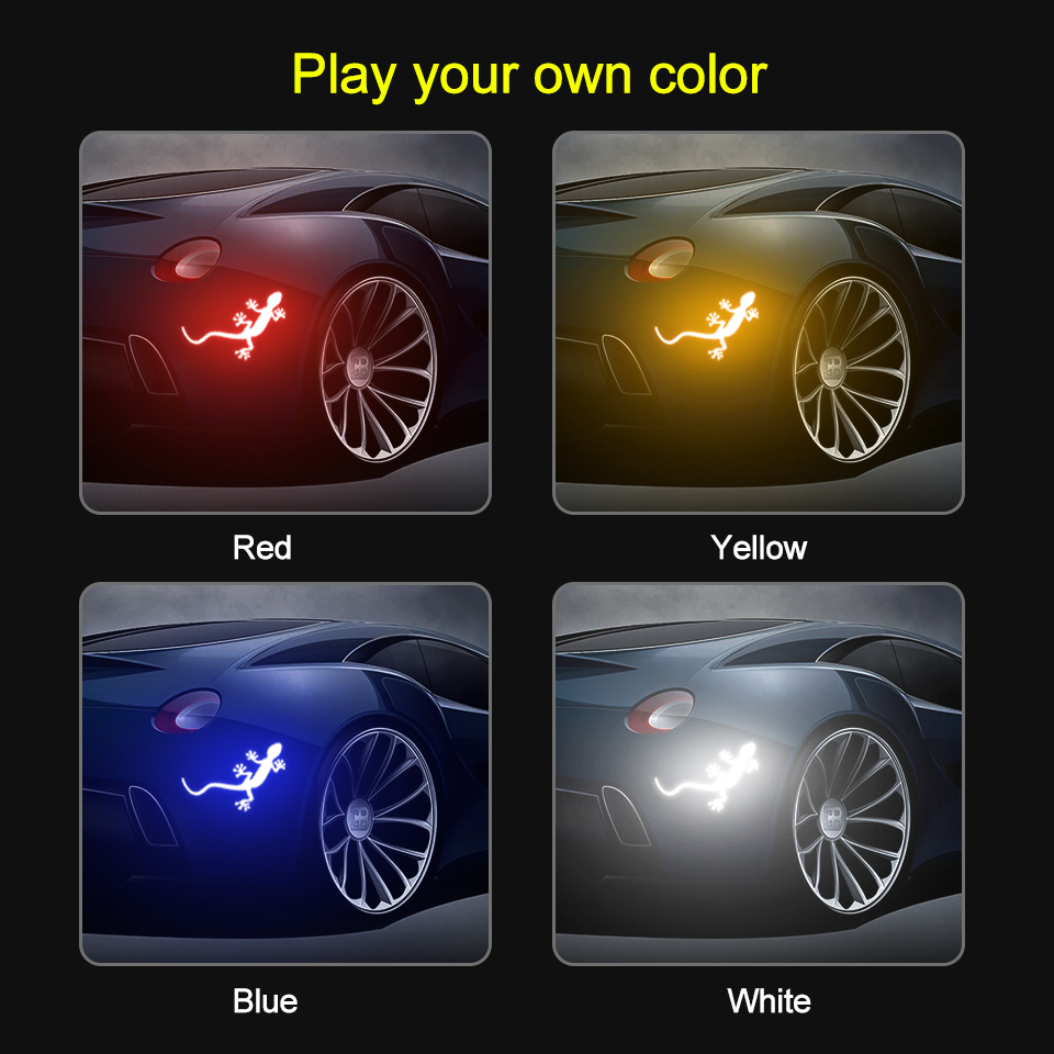 Image 5 - 2Pcs Reflective Car Sticker Safety Warning Mark Reflective Tape Auto Exterior Accessories Gecko Reflective Strip Light Reflector-in Car Stickers from Automobiles & Motorcycles