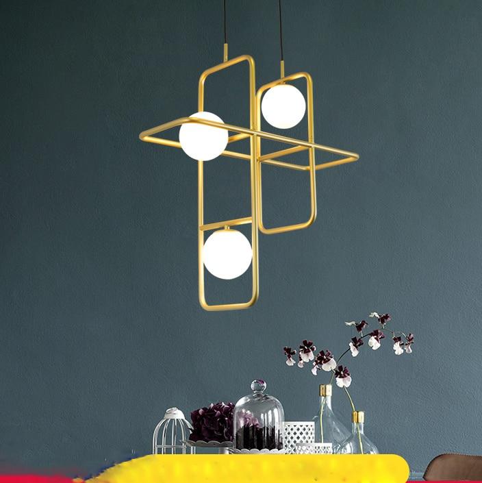 Nordic Geometric Modern Pendant Lamp Living Room Restaurant Light Creative Bedroom Bar Club American Golden Magic Bean Lamp C682