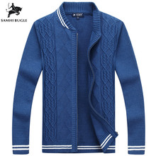 2018 Promotions Thick Autumn Winter Coat Zipper Cardigan Sweater Collar Men s Casual Striped Decoration Loose