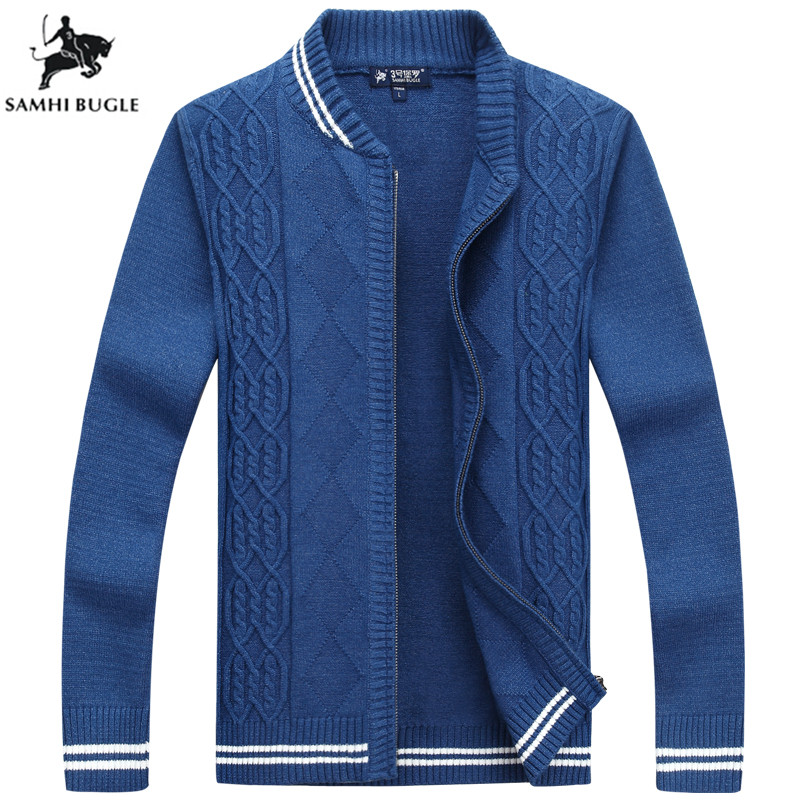 2019 Promotions Thick Autumn Winter Coat Zipper Cardigan Sweater Collar Men's Casual Striped Decoration Loose Sweater