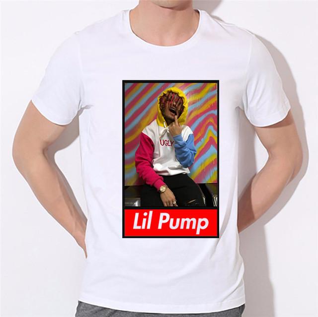New Arrival 2018 Men's Hip Hop Raper Lil Pump Print T-shirts Women White O Neck Hiphop Shirts Unisex Hip Hop Clothing,HCP4337