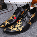 Christia Bella Men Dress Shoes Dragon Embroidery Business Men Oxfords Pointed Toe Lace Up Dress Shoes Breathable Men's Flats