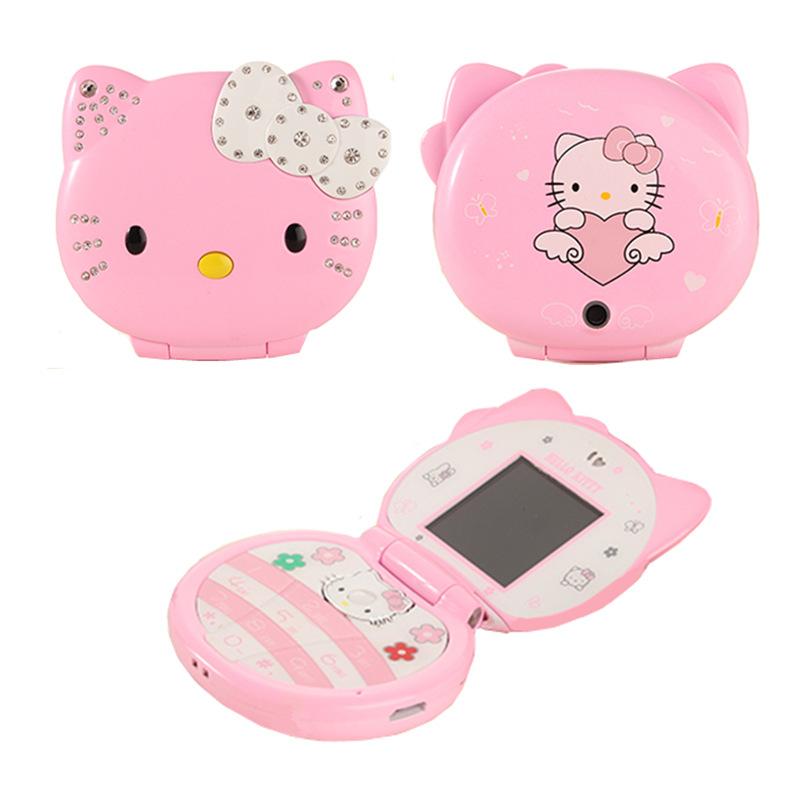Hello Kitty Flip Lovely Cute Mini  Cartoon Mobile Phone Cellphone For Kids Girls Dialer Vibration Low Radiation