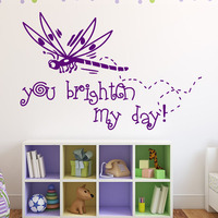 You Brighter My Day Vinyl Art Wall Decal Removable Cartoon Children Bedroom Home Decor Dragonfly Wall