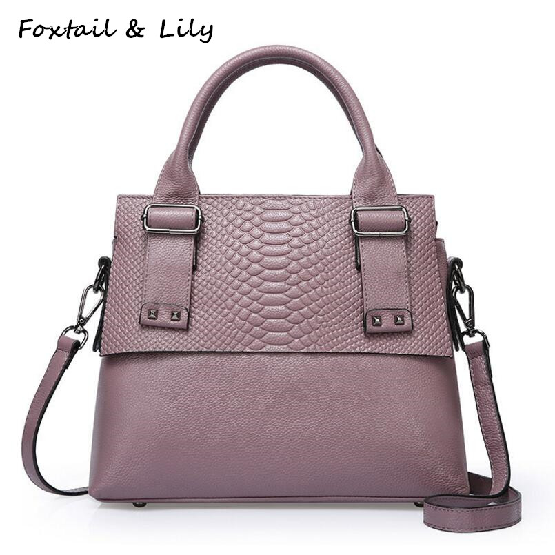 Foxtail & Lily Genuine Leather Crocodile Bags Women Real Soft Leather Handbags Ladies Tote Shoulder Crossbody Bags High Quality