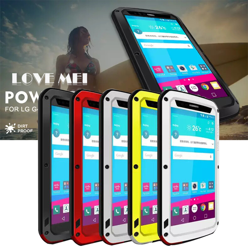 Love Mei case For LG G4 waterproof Shockproof metal cover case for lg g4 Tempered Glass