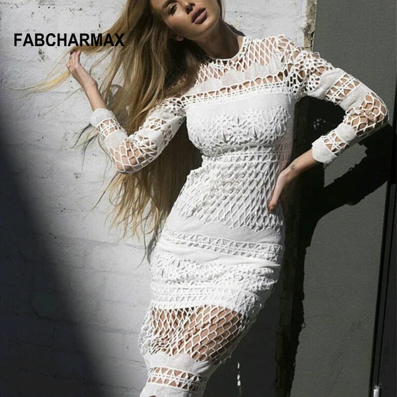 FABCHARMAX manga larga crochet hollow out blanco vestido de las ...