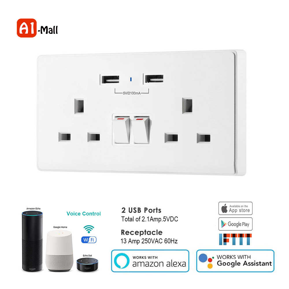 Smart life Wifi Smart Socket UK Timer Switch Control 13A Wall Outlet and 2  USB Ports Voice Control Works with Alexa Google IFTTT