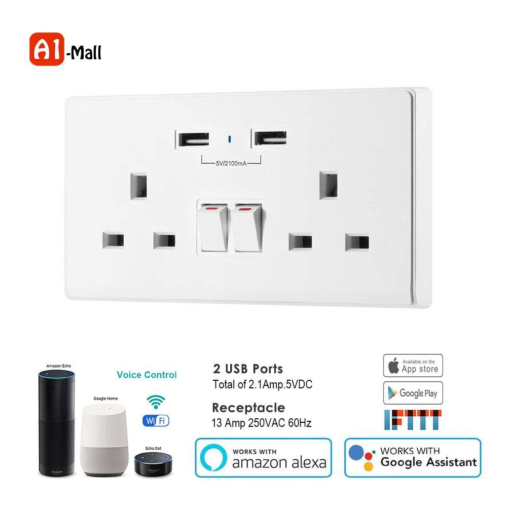 Vie intelligente Wifi prise intelligente UK minuterie interrupteur contrôle 13A prise murale et 2 Ports USB commande vocale fonctionne avec Alexa Google IFTTT